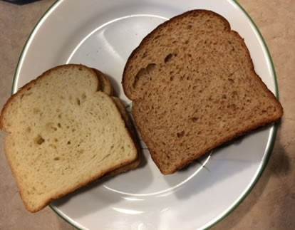 White and whole wheat bread samples