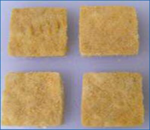 Chicken patty samples for bite resistance texture analysis