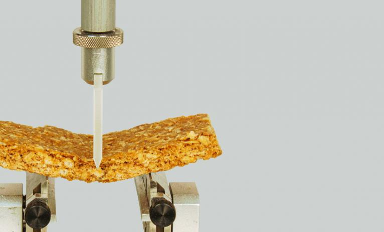Texture analysis of grain/snack product using snap/bend/break method